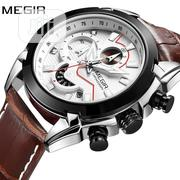 Top Brand MEGIR Luxury Leather Army Men Chronograph Wrist Watch | Watches for sale in Lagos State, Surulere