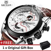Military Sport Watch Men Megir Luxury Leather Wrist Watches | Watches for sale in Lagos State, Victoria Island