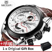 Leather Military Megir Chronograph Clock Male Men Wrist Watch | Home Accessories for sale in Lagos State, Lekki Phase 1