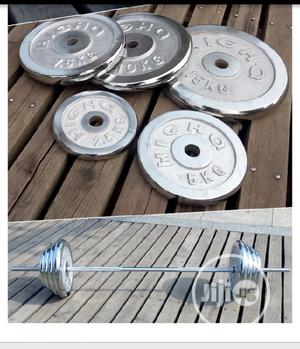 50kg Chrome Steel Dumbbells Barbells Set Weight Plates | Sports Equipment for sale in Lagos State, Ipaja