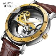 Men's Mechanical Watch Waterproof Hollow Leather Wrist Clock Watch | Watches for sale in Lagos State, Victoria Island