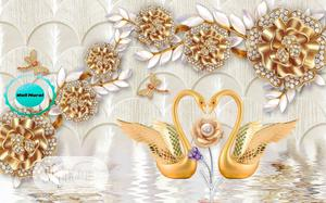 Elegant Golden Swan 8D Wall Mural Design for Homes Offices and Hotels   Home Accessories for sale in Lagos State, Ikeja