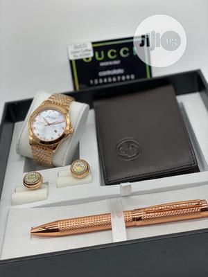 Gucci Rose Gold Watch, Pen, Cufflinks And Wallet For Men's   Watches for sale in Lagos State
