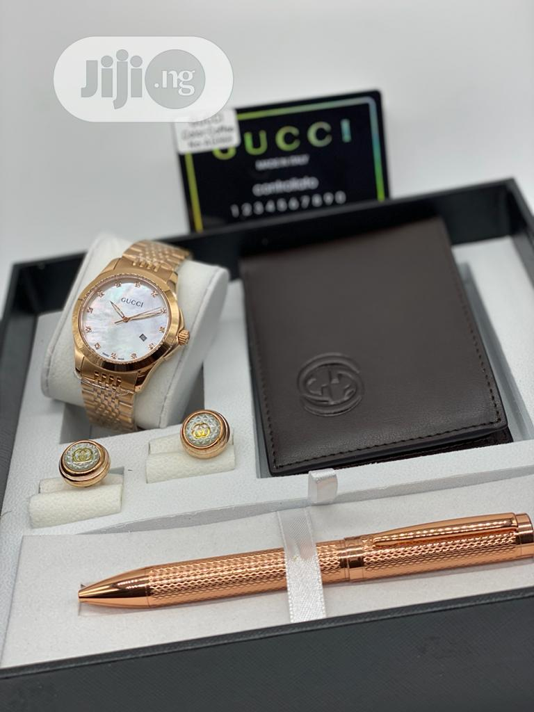 Gucci Rose Gold Watch, Pen, Cufflinks And Wallet For Men's