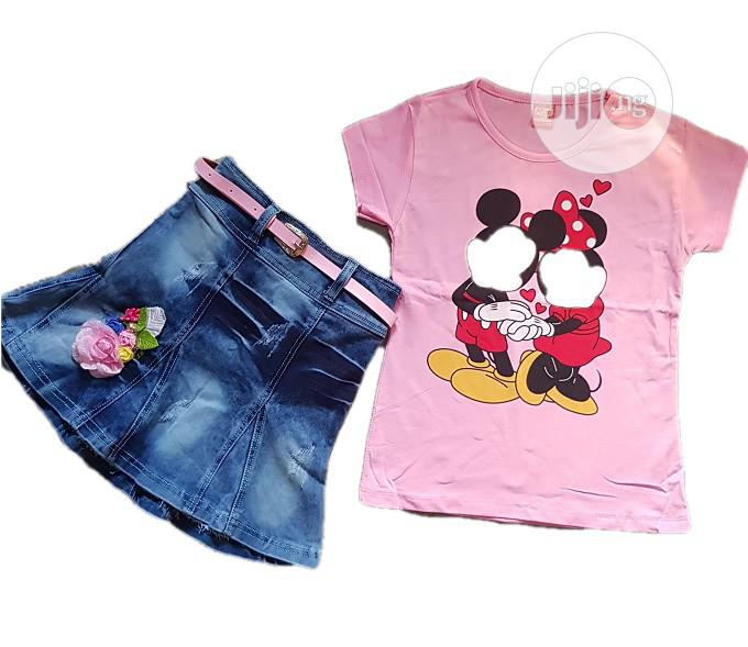 2 Pieces Jean Skirt And Top - Pink