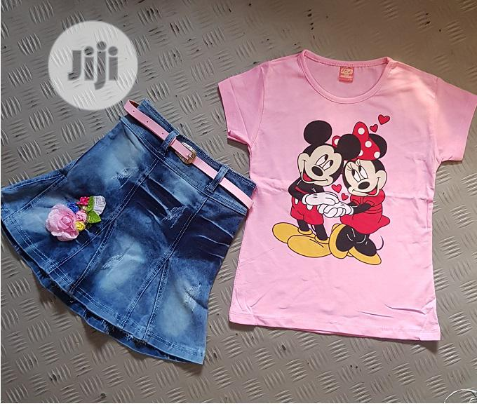 2 Pieces Jean Skirt And Top - Pink   Children's Clothing for sale in Isolo, Lagos State, Nigeria