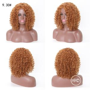 Light Brown Short Sliky Curly Human Hair Wigs | Hair Beauty for sale in Lagos State, Ikoyi