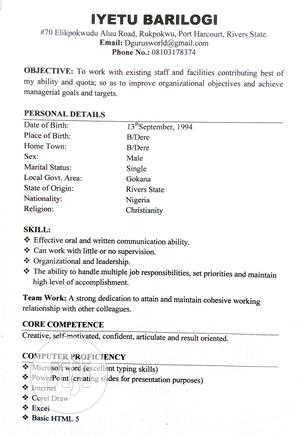Office CV   Internship CVs for sale in Rivers State, Port-Harcourt