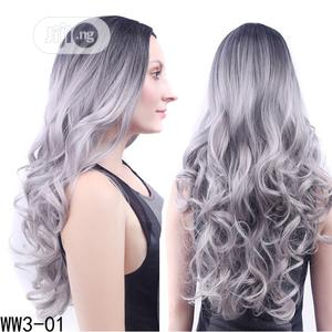 Sliky Curly Black Granny Grey Closure Hair Wig | Hair Beauty for sale in Lagos State, Ikoyi