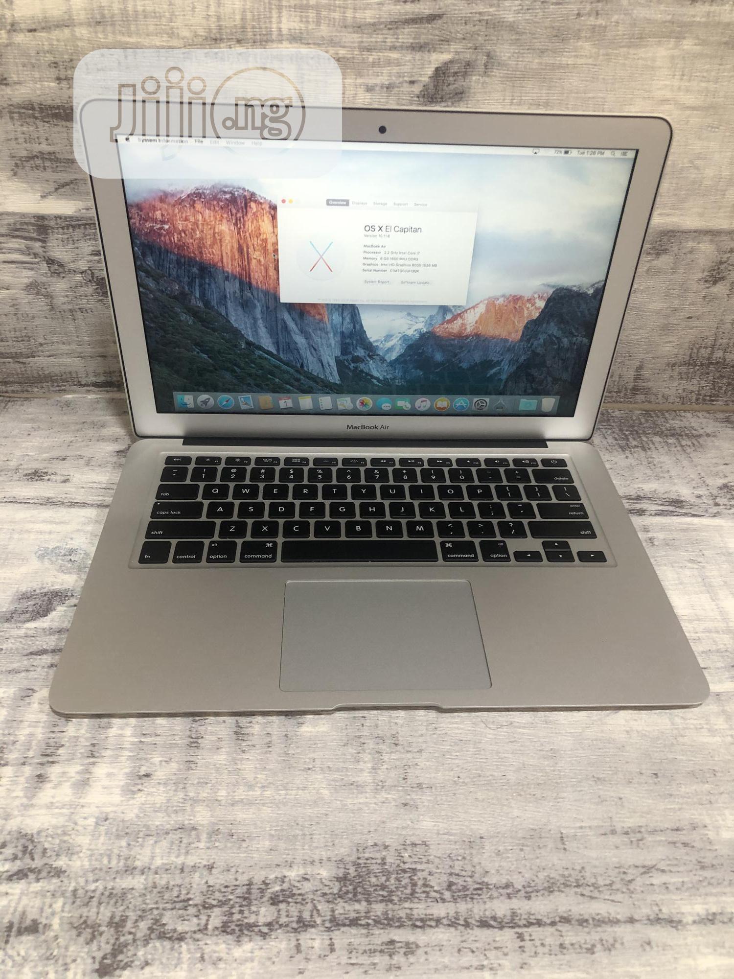 Laptop Apple MacBook Air 2015 8GB Intel Core i7 SSD 128GB   Laptops & Computers for sale in Ikeja, Lagos State, Nigeria