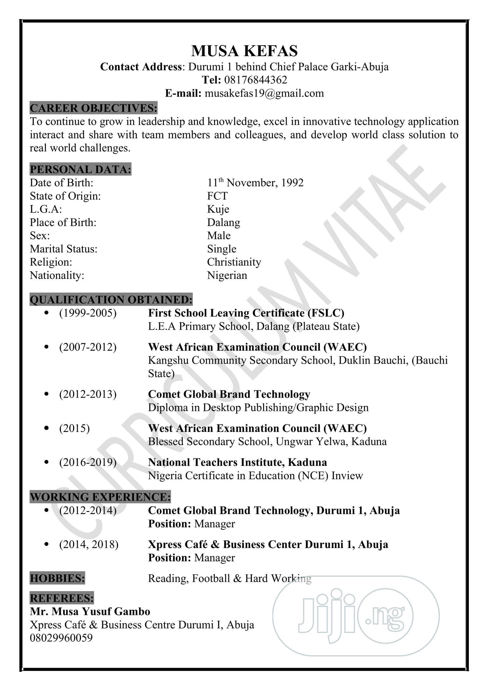 Computing IT CV   Computing & IT CVs for sale in Durumi, Abuja (FCT) State, Nigeria