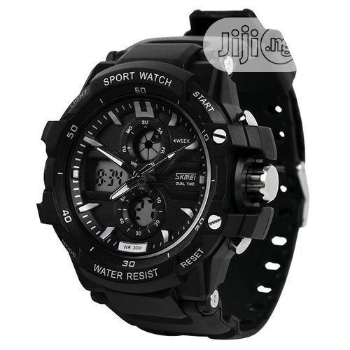 Skmei Chronograph Digital & Analog Sports Watch + Free LED Watch