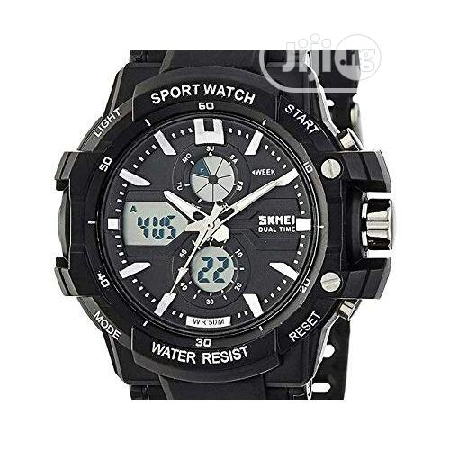 Skmei Chronograph Digital & Analog Sports Watch + Free LED Watch   Watches for sale in Ikeja, Lagos State, Nigeria