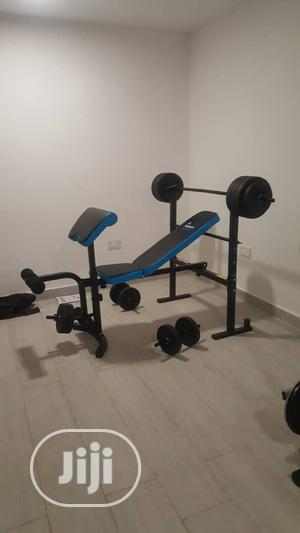 Multi Adjustable Weight Bench With 50kg Barbells | Sports Equipment for sale in Lagos State, Surulere