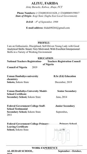 Teaching | Teaching CVs for sale in Abuja (FCT) State, Gwarinpa