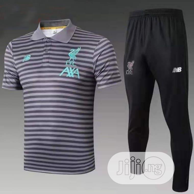 Brand New Liverpool Prematch Polo Tracksuit Grey/Black