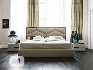 Modern Upholstered Bedframe 6 by 6 With Side Drawer   Furniture for sale in Lagos State, Ikeja