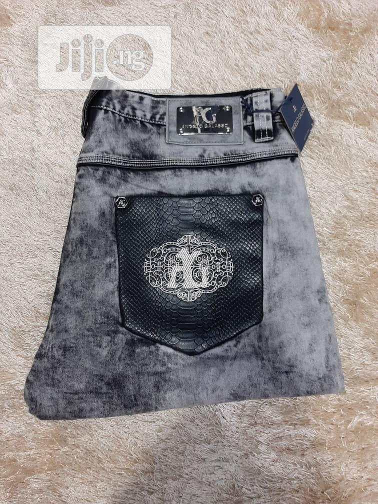 Black And Gray Angelo Galasso Designer's Jeans | Clothing for sale in Lagos Island, Lagos State, Nigeria