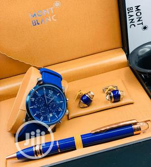 Montblanc Chronograph Black Leather Strap Watch/Pen and Cufflinks | Watches for sale in Lagos State, Lagos Island (Eko)
