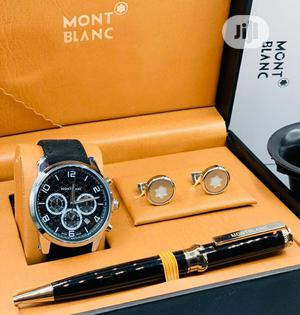 Montblanc Chronograph Silver Leather Strap Watch/Pen And Cufflinks | Watches for sale in Lagos State, Lagos Island (Eko)