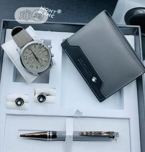 Montblanc Chronograph Silver Leather Watch/Wallet /Pen and Cufflinks   Watches for sale in Lagos State, Lagos Island (Eko)