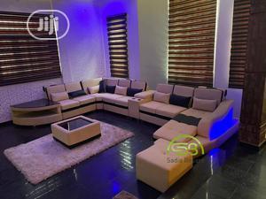 Cream U Shape Sofa With LED Lights   Furniture for sale in Lagos State, Gbagada
