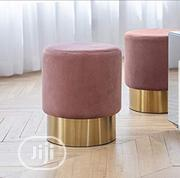 Art Leon Small Round Velvet Ottoman, Upholstered Gold Plating Base | Furniture for sale in Lagos State, Lekki Phase 2
