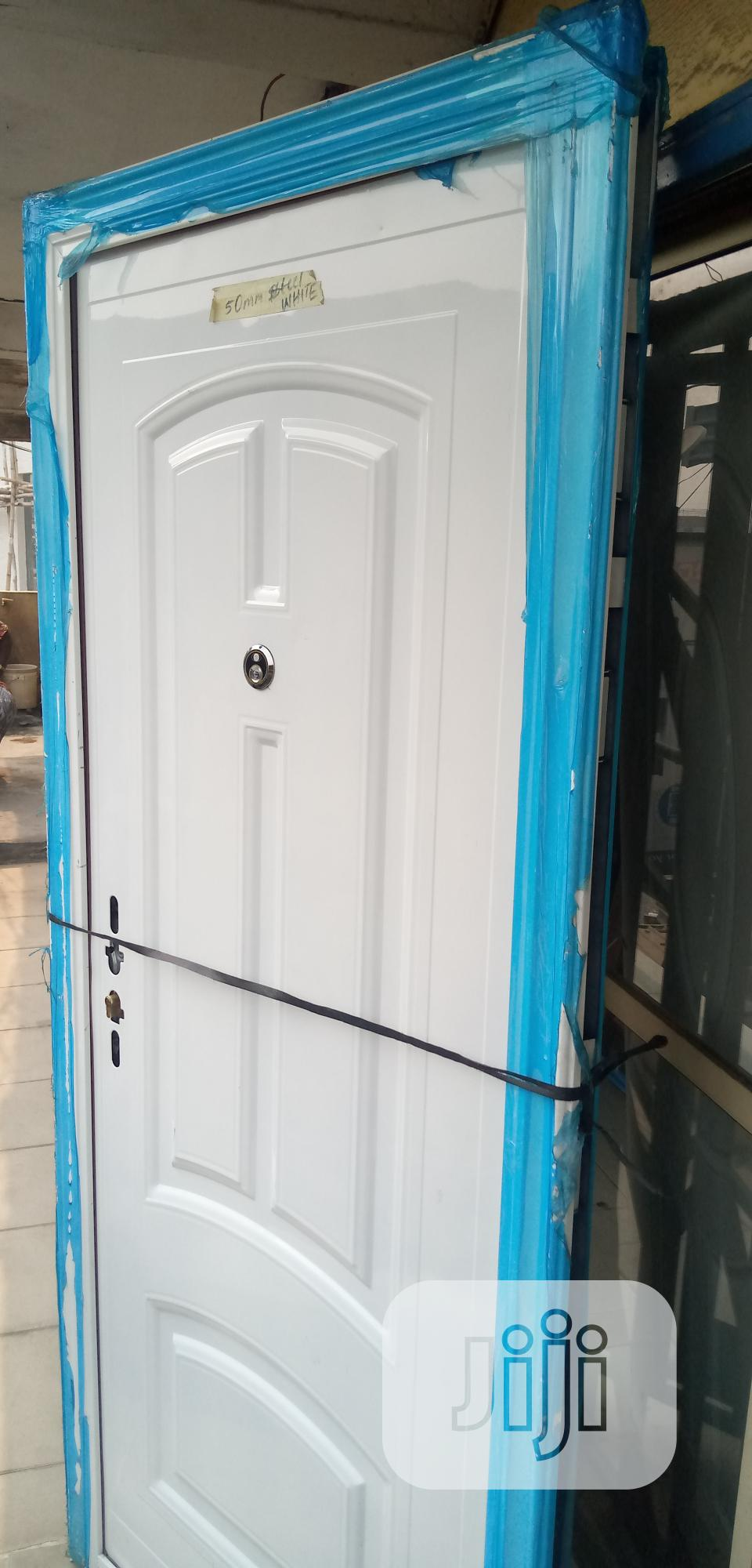3ft White Steel Door