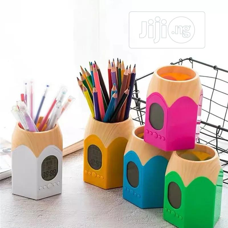 Pen Shape Pencil And Pen Holder With Digital Clock And Led Light.