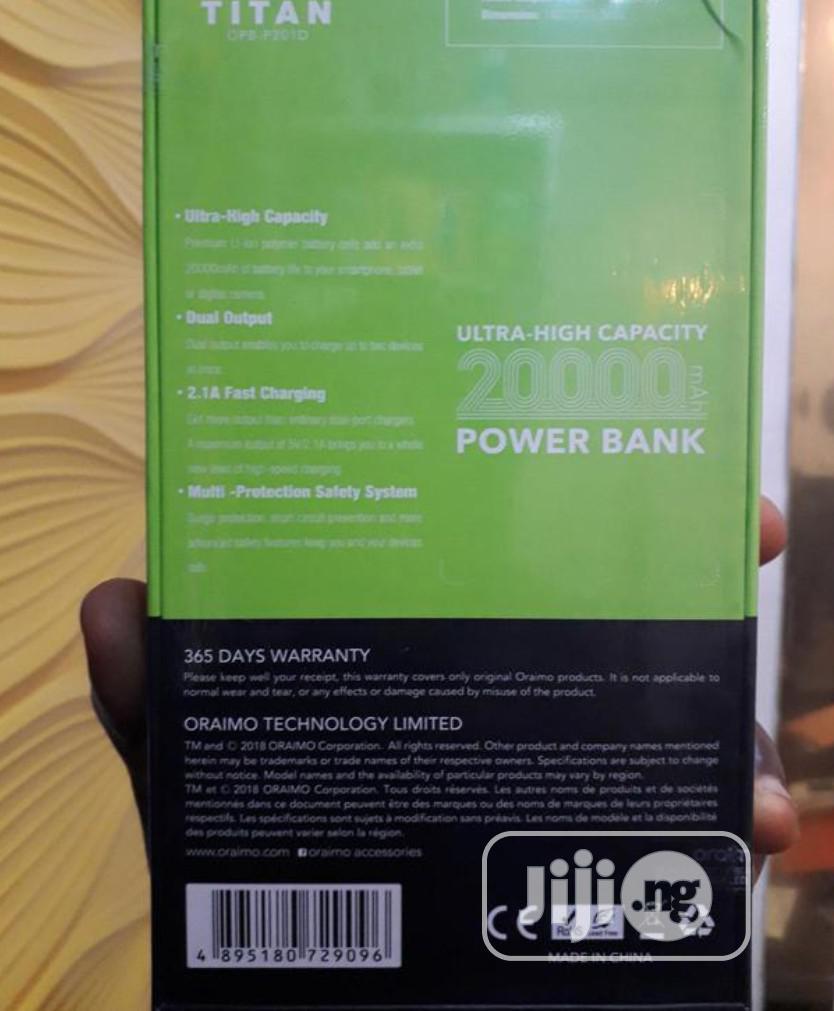 Oraimo 20,000mah Max Power Titan Power Bank