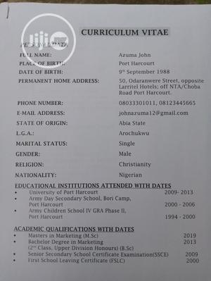 Management CV | Management CVs for sale in Rivers State, Port-Harcourt