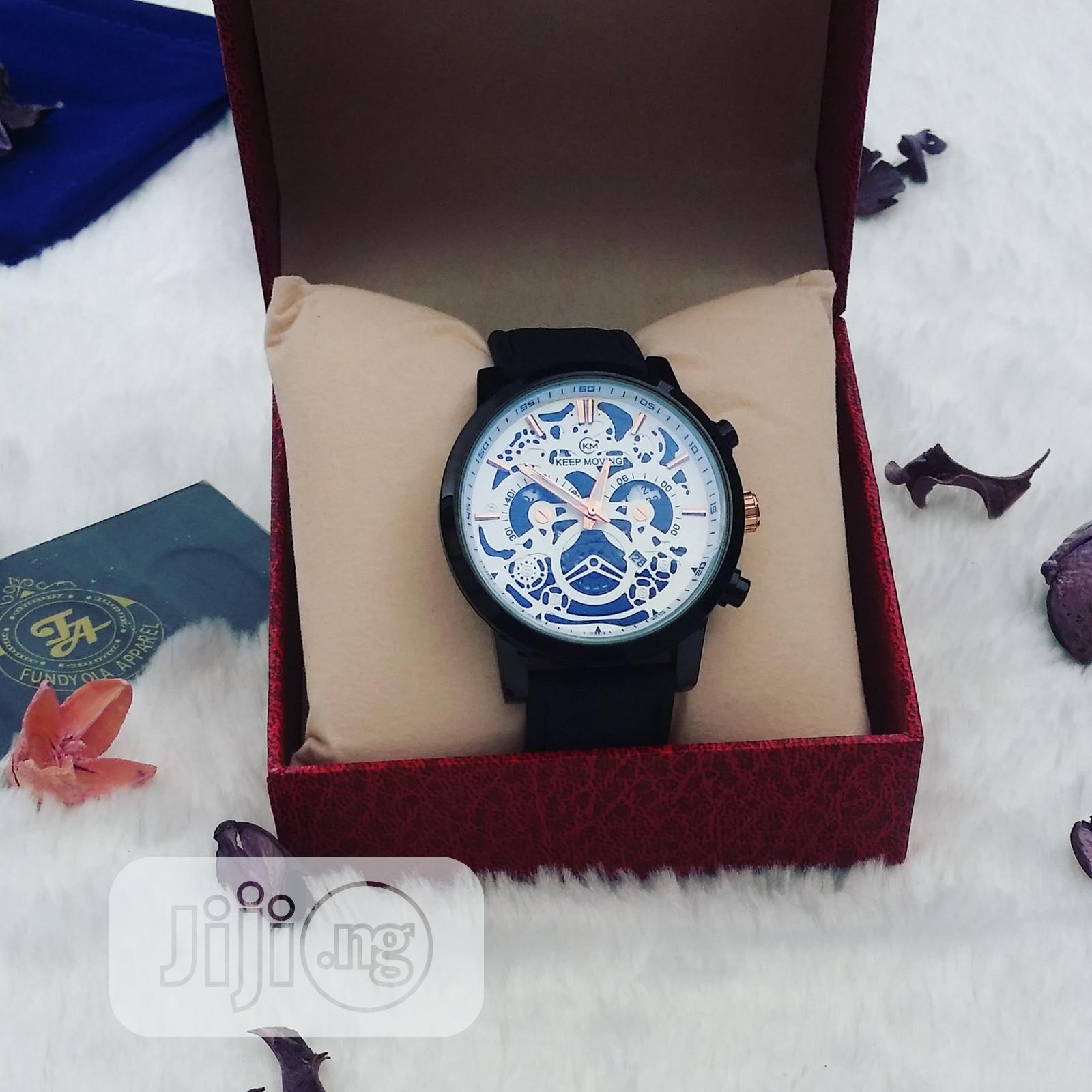 KM Black Leather Male Wristwatch
