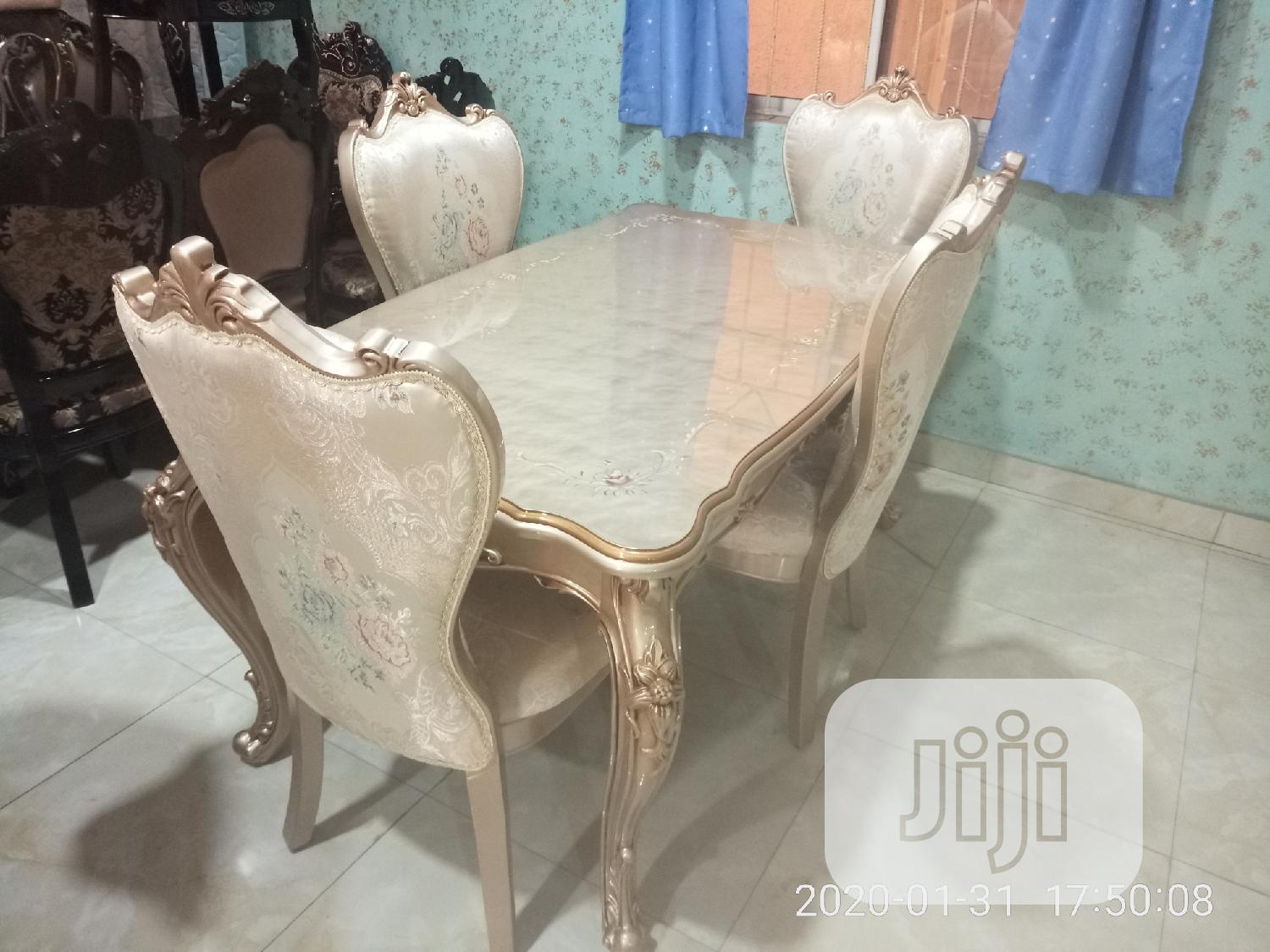 Executive Gold Color Wooden Dining Table Plus Dining Chairs