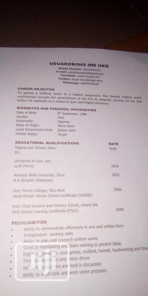 Company Secretary | Legal CVs for sale in Akwa Ibom State, Uyo