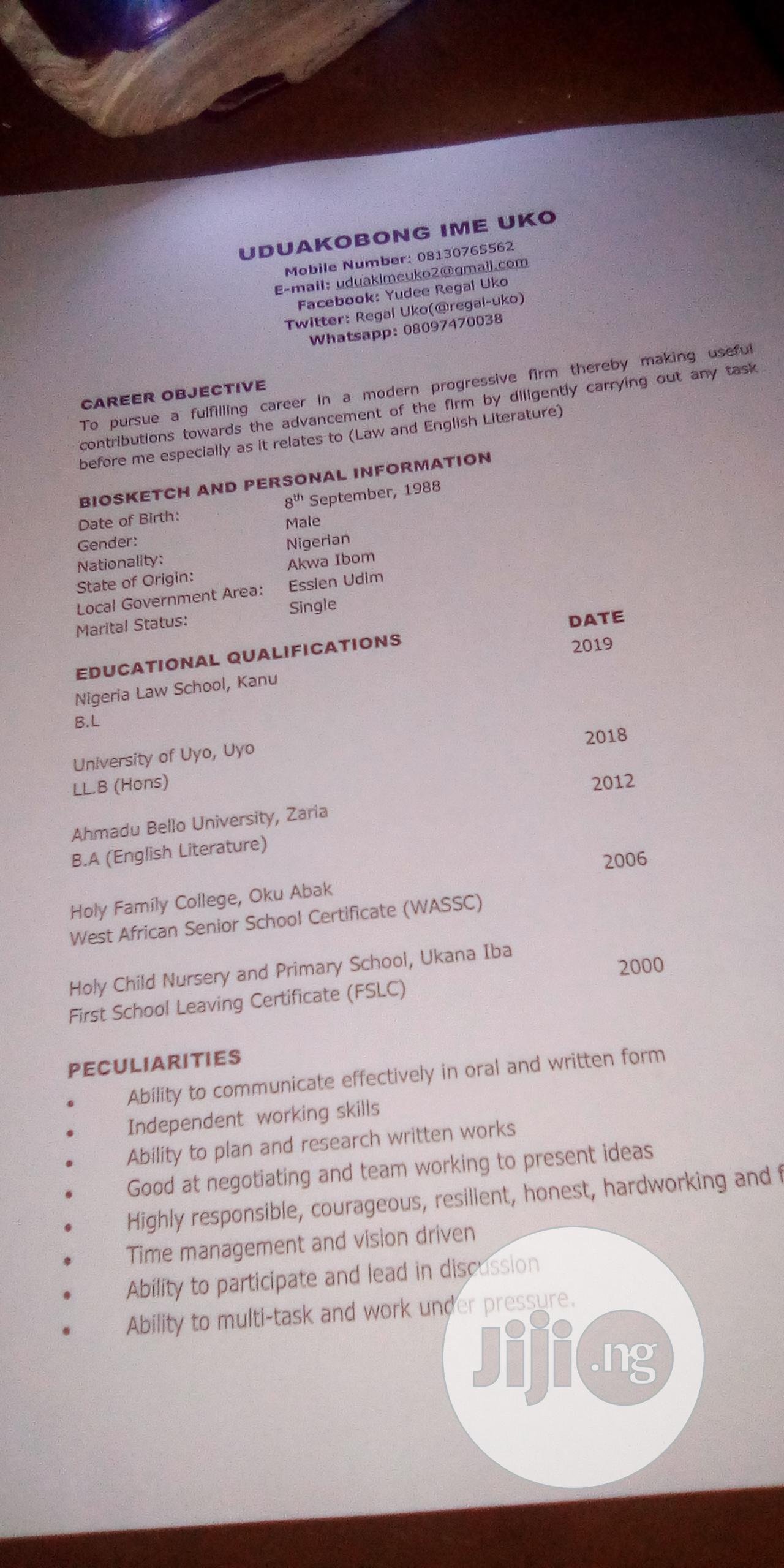 Company Secretary | Legal CVs for sale in Uyo, Akwa Ibom State, Nigeria