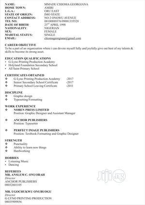 Graphic Designer   Computing & IT CVs for sale in Ogun State, Ado-Odo/Ota