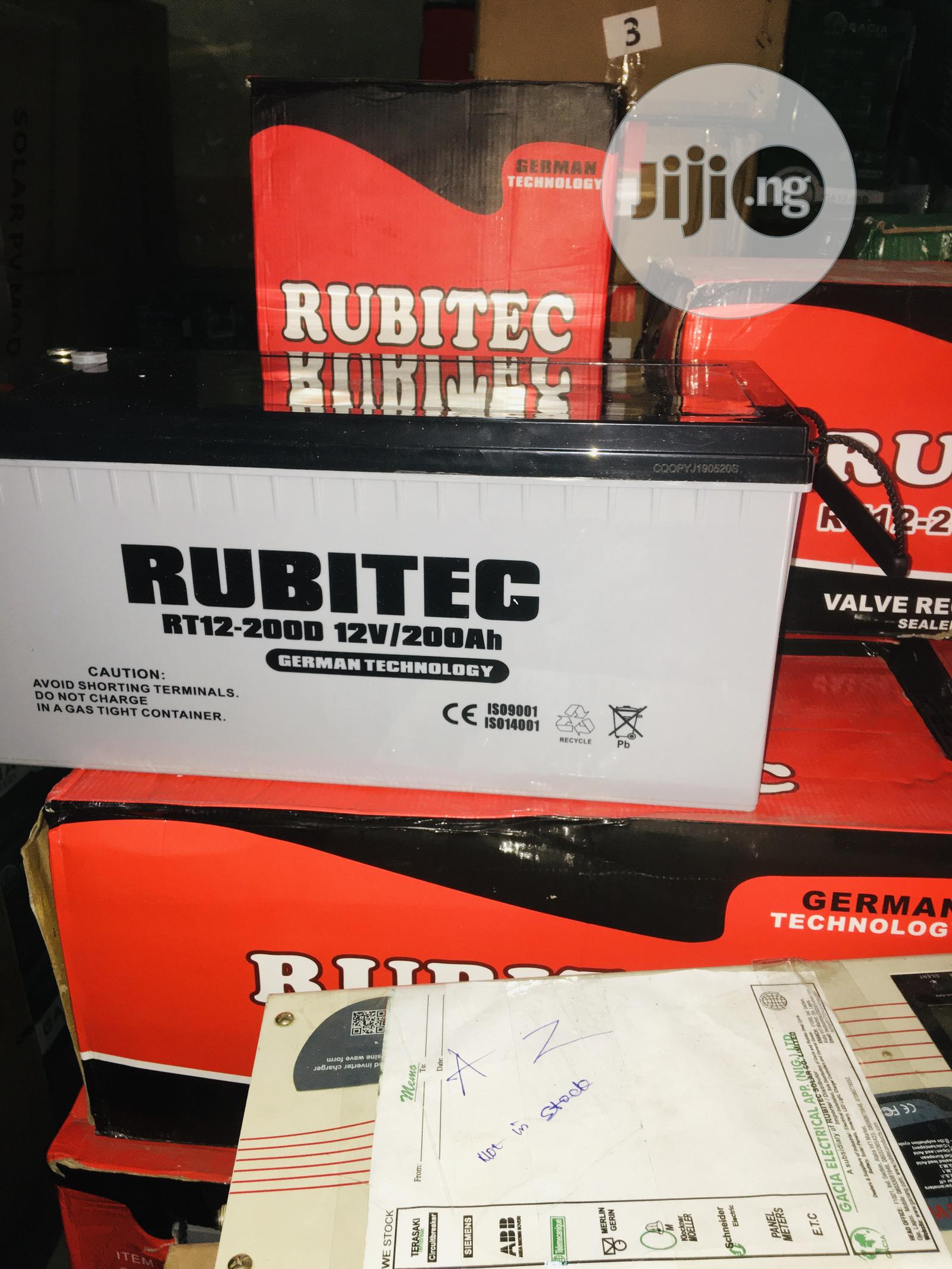 200ah 12v Rubitec Solar Battery Available With 1yr Warranty | Solar Energy for sale in Ojo, Lagos State, Nigeria