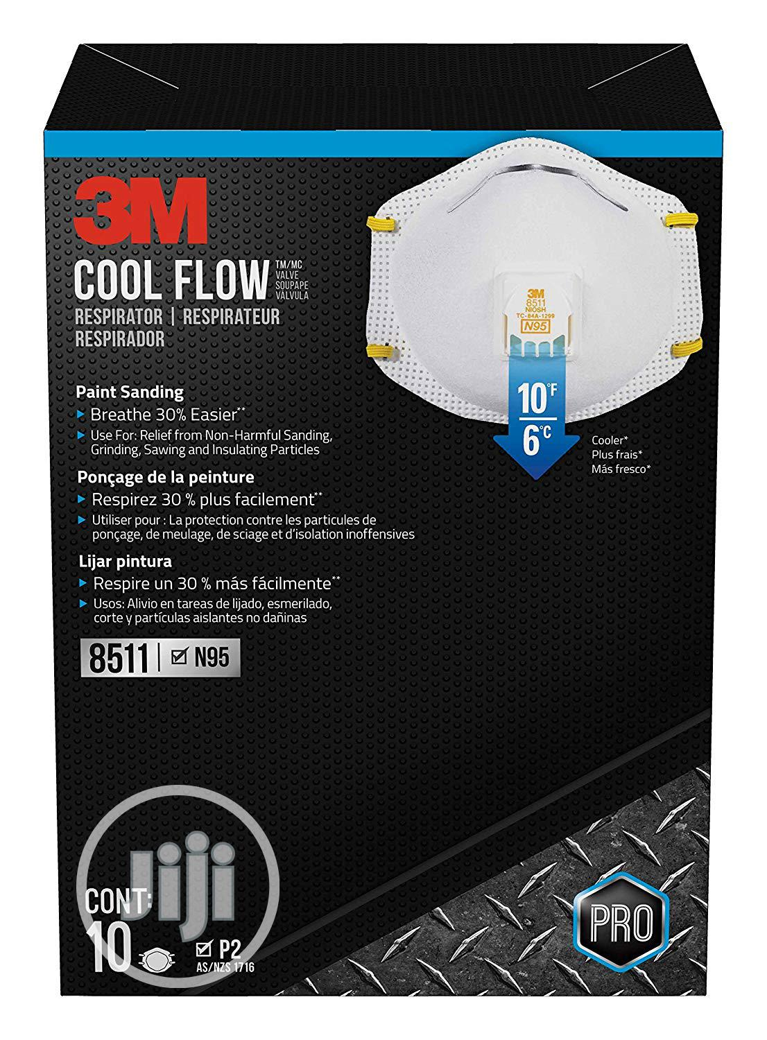 3M 8511 Respirator, N95, Cool Flow Valve Nose Mask (10 Per Pack) | Safety Equipment for sale in Surulere, Lagos State, Nigeria
