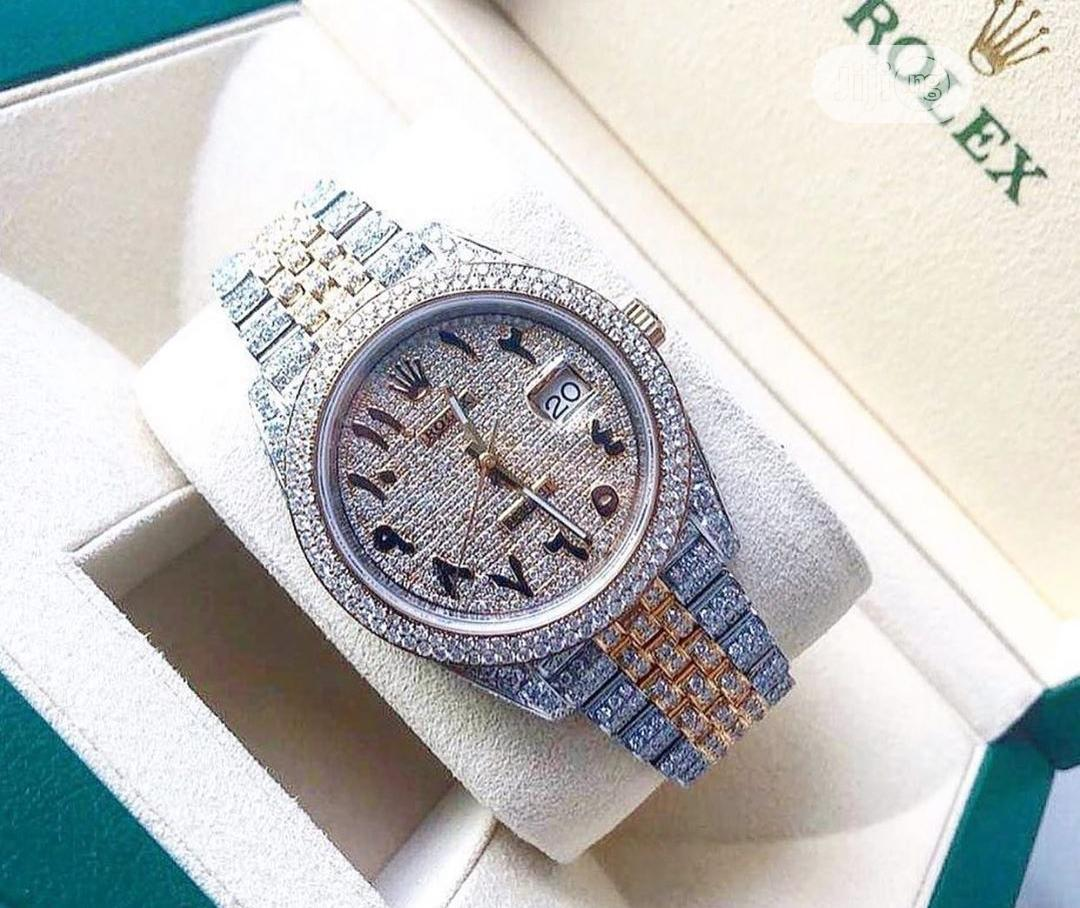 Rolex Oyster Perpetual Full Ice Rose Gold/Silver Chain Watch