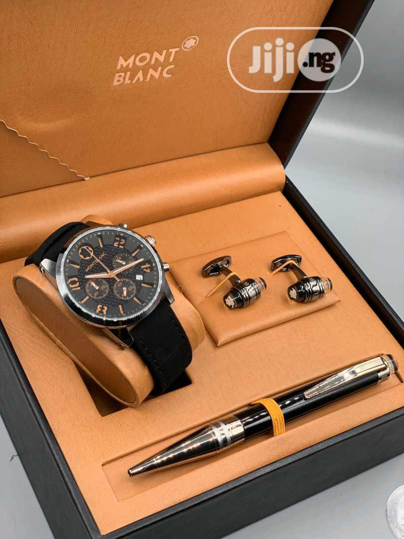 Montblanc Chronograph Leather Strap Watch/Pen and Cufflinks