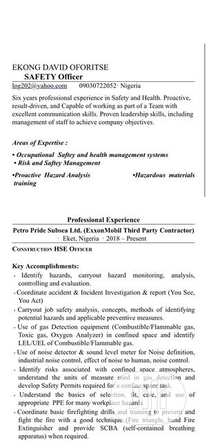 Health And Safety Officer   Construction & Skilled trade CVs for sale in Akwa Ibom State, Eket