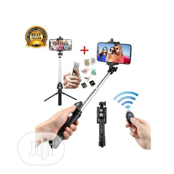 Black Bluetooth Controller Tripod Selfie Stick