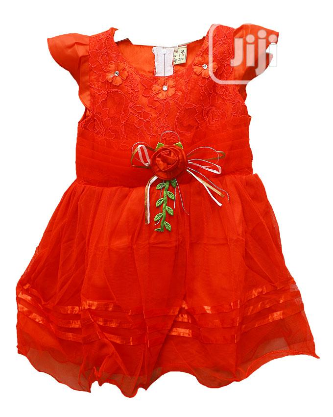 Girls Short Sleeve Party Dress-red,Blue,Yellow&Pink