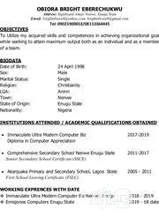 Computer Operator   Computing & IT CVs for sale in Enugu State, Aninri