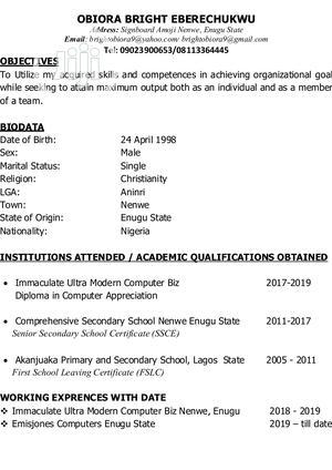 Computer Operator | Computing & IT CVs for sale in Enugu State, Aninri