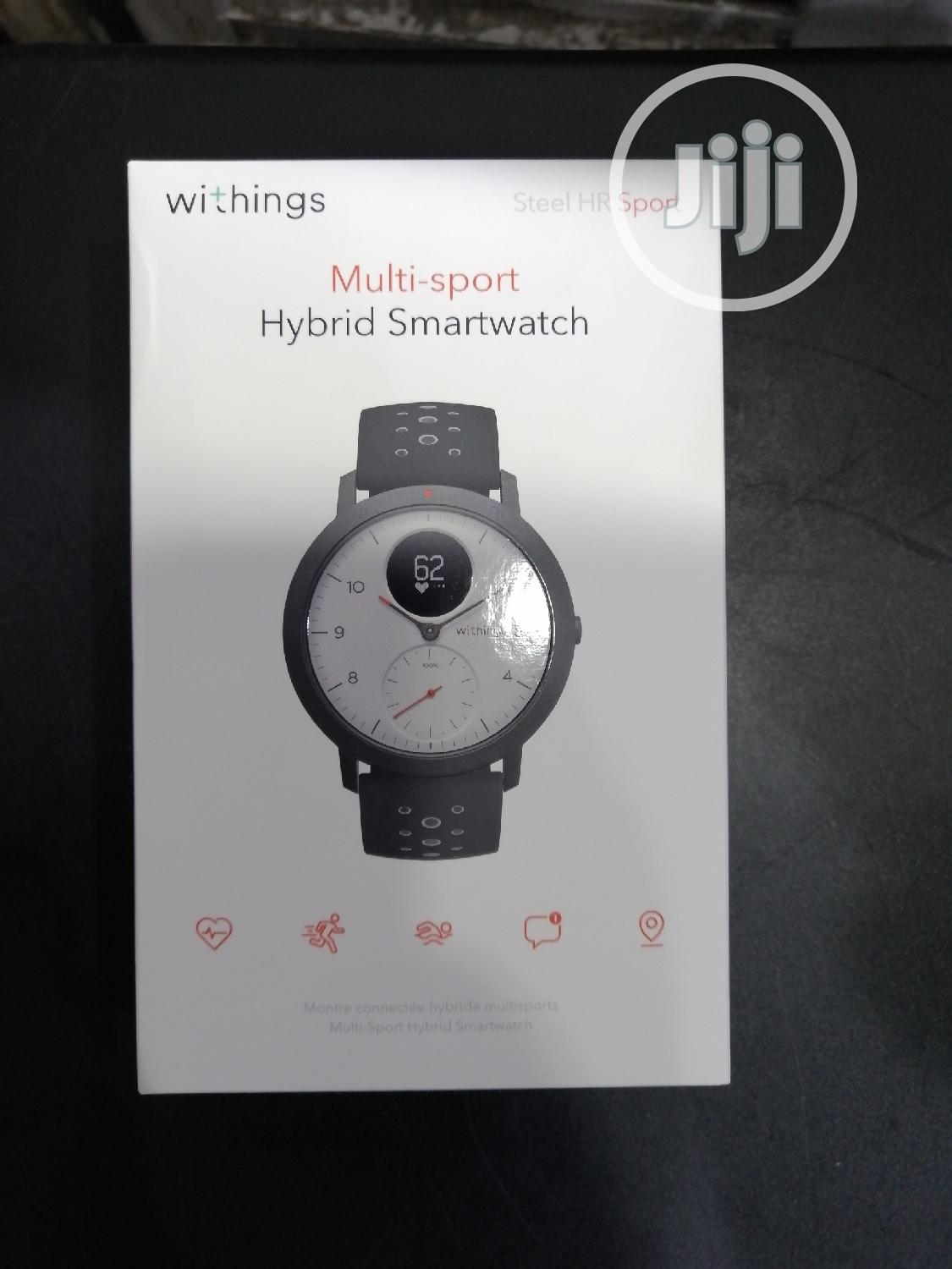 Withings Steel HR Sport 40mm Activity Tracker, Heart Rate Monitor, Gps | Smart Watches & Trackers for sale in Ikeja, Lagos State, Nigeria