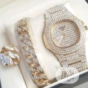 Keep Moving Gold Wristwatch, Bracelet And Ring, All Platted With Stone | Jewelry for sale in Lagos State, Surulere