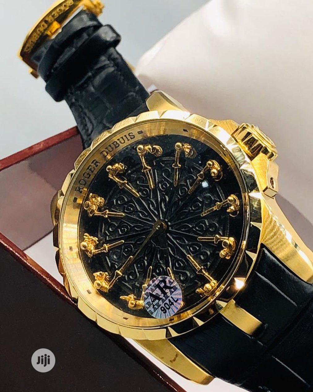 Roger Dubuis Gold Leather Strap Watch