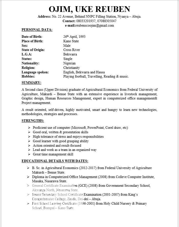 Clerical Administrative CV