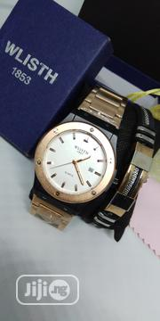 Men's Luminous Rose-gold Stainless Steel Watch & Bracelet Set | Watches for sale in Lagos State, Victoria Island